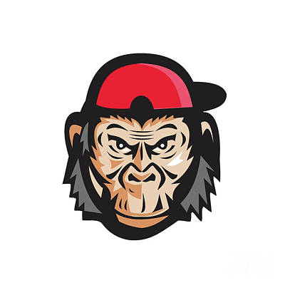 Angry Chimpanzee Head Baseball Cap Retro Art Print