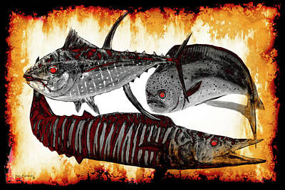 Dolphin Painting - Terminator Fish In Flames by Ken Figurski