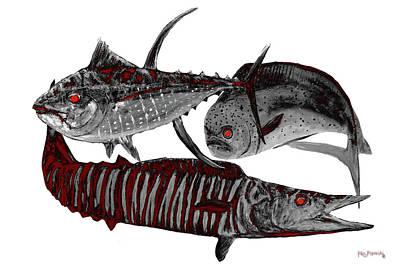 Wahoo Painting - Terminator Fish by Ken Figurski