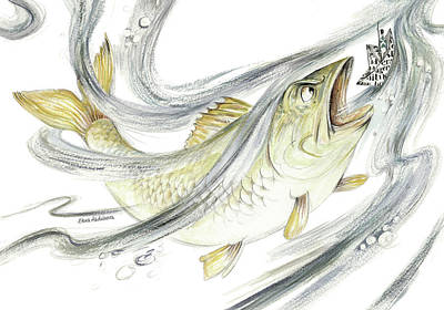 Angry Fish Ready To Swallow Tin Soldier's Paper Boat - Horizontal - Fairy Tale Illustration Fragment Art Print by Elena Abdulaeva