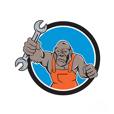 Angry Gorilla Mechanic Spanner Circle Cartoon Art Print by Aloysius Patrimonio