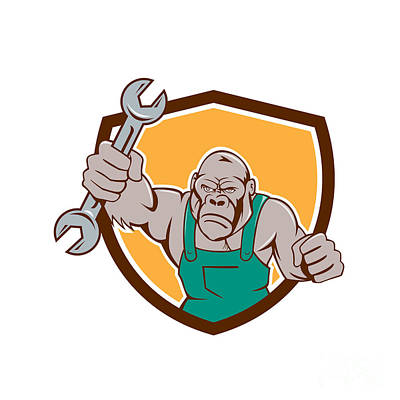 Angry Gorilla Mechanic Spanner Shield Cartoon Art Print by Aloysius Patrimonio