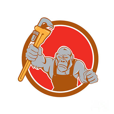 Angry Gorilla Plumber Monkey Wrench Circle Cartoon Art Print by Aloysius Patrimonio