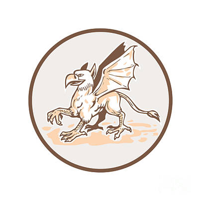 Griffon Digital Art - Angry Griiffin Side Circle Cartoon by Aloysius Patrimonio