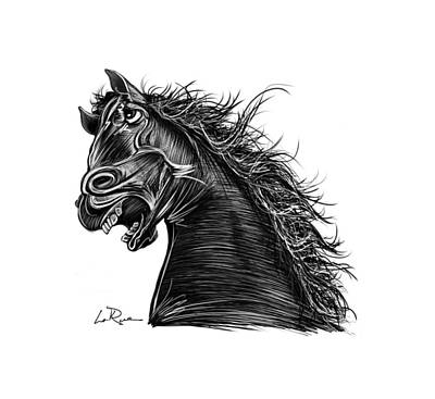 Drawing - Angry Horse by Doug LaRue