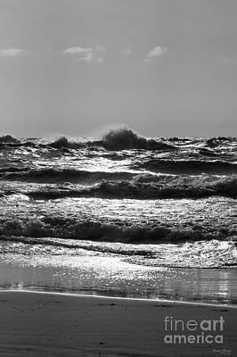 Photograph - Angry Lake Michigan Grayscale by Jennifer White