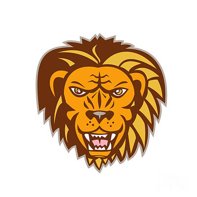 Angry Lion Big Cat Growling Head Retro Art Print