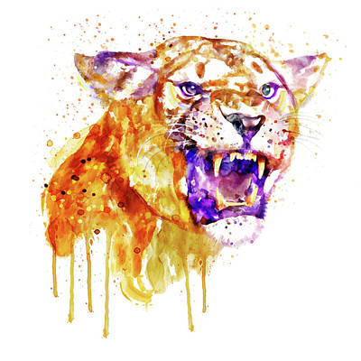 Big Square Format Mixed Media - Angry Lioness by Marian Voicu