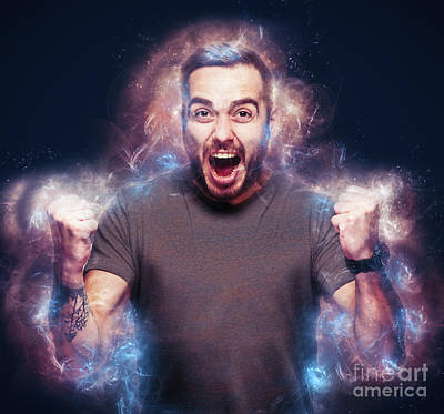 Photograph - Angry Man Burning Bright. Fury Concept. by Michal Bednarek