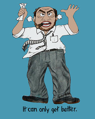 Animation Drawing - Angry Man Cartoon by Christine McCole