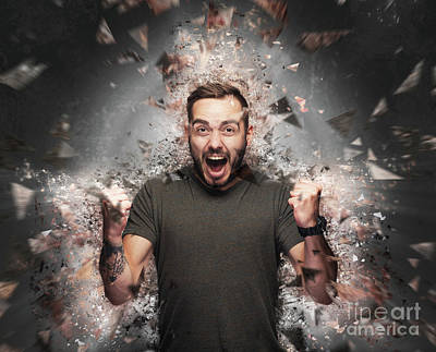 Photograph - Angry Man Concept. Shattered Elements Exploding by Michal Bednarek