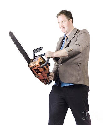 Metaphor Photograph - Angry Man In Business Attire Holding Chainsaw by Jorgo Photography - Wall Art Gallery