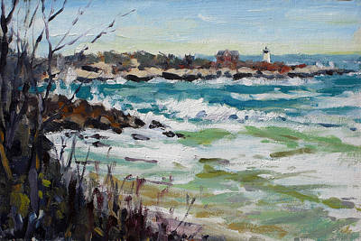 Rockport Massachusetts Painting - Angry March Surf At Straitsmouth Light by Chris Coyne