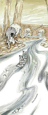 Angry Rat Pursuing Tin Soldier's Paper Boat - Tall Panoramic - Illustration Fragment Art Print by Elena Abdulaeva