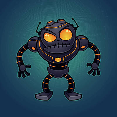 Fight Digital Art - Angry Robot by John Schwegel