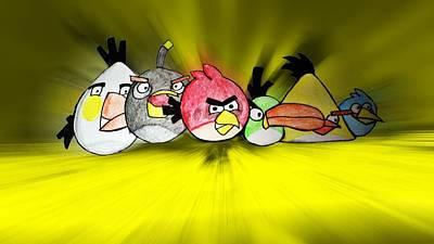 Game Bird Digital Art - Angry by Sharon Lisa Clarke