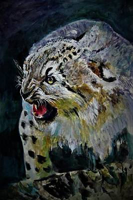 Painting - Angry Snow Leopard by Khalid Saeed