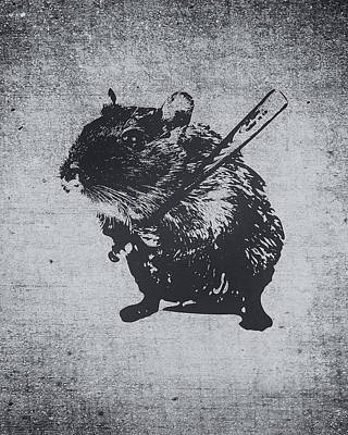 Banksy Digital Art - Angry Street Art Mouse  Hamster Baseball Edit  by Philipp Rietz
