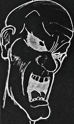 Drawing - Angry Zombie In Negative by Yshua The Painter