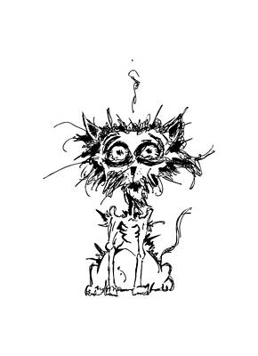 Chaos Drawing - Angst Cat by Nicholas Ely