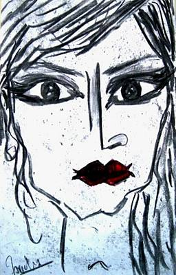 Drawing - Anguished Self  by Fareeha Khawaja