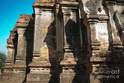Photograph - Angular Corner Of Temple In Burma With Sunny Blue Sky by Jason Rosette