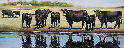 Animals Paintings - Angus Reflections by Toni Grote