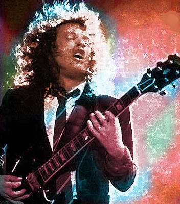 Angus Young Painting - Angus Young A C / D C  by Enki Art
