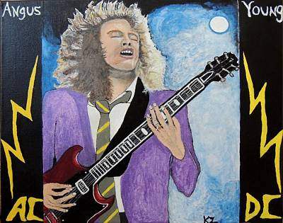 Art Print featuring the painting Angus Young Forever. by Ken Zabel