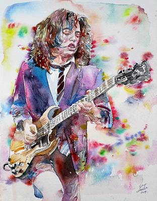 Painting - Angus Young - Watercolor Portrait by Fabrizio Cassetta