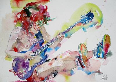 Painting - Angus Young - Watercolor Portrait.3 by Fabrizio Cassetta
