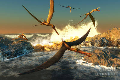 Pterodactyls Digital Art - Anhanguera Fishing by Corey Ford