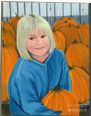 Art Print featuring the painting Ani In The Pumpkin Patch by Gail Finn