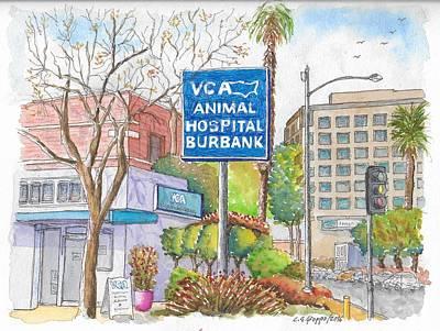 Anibal Hospital Burbank In Olive St., Burbank, California Original by Carlos G Groppa