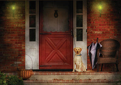 Animal - Dog - Waiting For My Master Art Print by Mike Savad