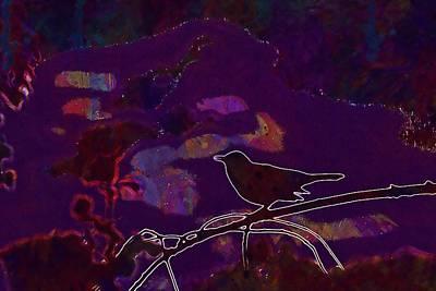 Digital Art - Animal Bird Dark Nature Silhouette  by PixBreak Art