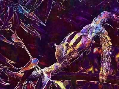Digital Art - Animal Branches Leaves Mammal  by PixBreak Art