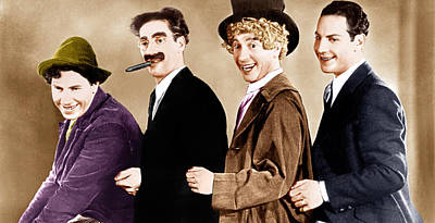 Groucho Marx Photograph - Animal Crackers, From Left Chico Marx by Everett