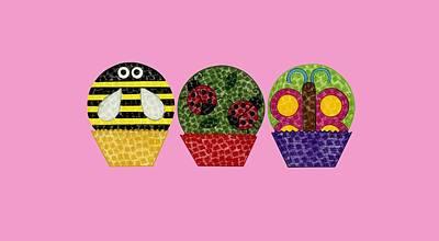Bumblebee Drawing - Animal Cupcakes 1 by Emily Kim