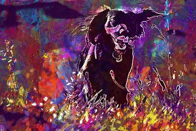 Jogging Digital Art - Animal Dog Meadow Jogging Grass  by PixBreak Art