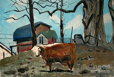 Steer Painting - Animal Farm by Charlie Spear
