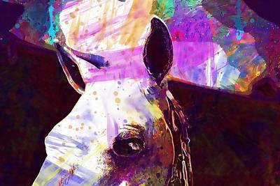 Digital Art - Animal Mammal Horse Head Ears  by PixBreak Art