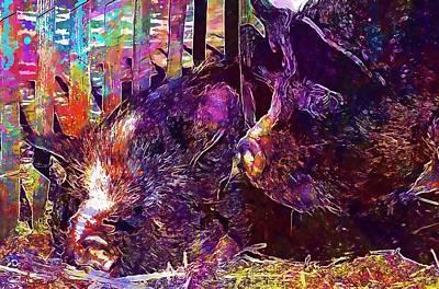 Digital Art - Animal Mammal Pig Hog  by PixBreak Art