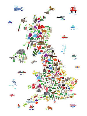Animal Map Of Great Britain For Children And Kids Art Print