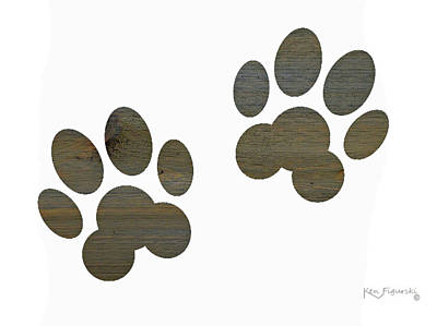 Scottish Terrier Watercolor Painting - Animal Paws Art 2 by Ken Figurski