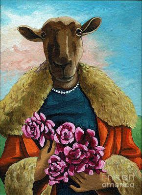 Imaginary Art Painting - animal portrait - Flora Shepard by Linda Apple