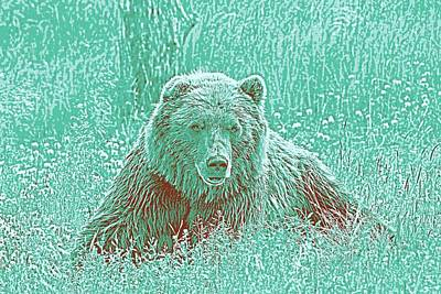 Illustrations Painting - Animal Posters - Grizzly Bear, Ca 2017 By Adam Asar 3 by Adam Asar