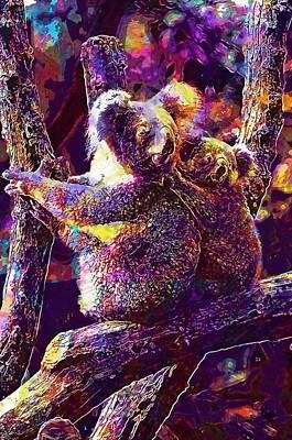 Digital Art - Animals Branch Cute Furry Koalas  by PixBreak Art