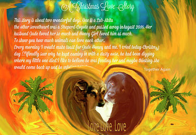 Digital Art -  Animals-christmas Love Story by Sherri's - Of Palm Springs