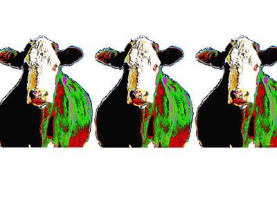 Animals Cows Three Pop Art Cows Warhol Style Art Print by Ann Powell